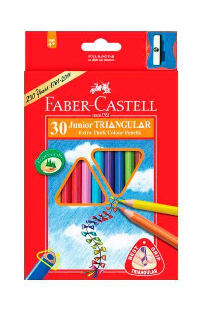 Цветные карандаши JUNIOR GRIP с точилкой, набор цветов, в картонной коробке, 30 шт.116530Faber Castell Junior Grip 116530 - набор карандашей с тридцатью разными цветами и специальной точилкой для легкого затачивания. Все карандаши покрыты особым лаком, изготовленным на водной основе, который не наносит вред окружающей среде и здоровью. Вид карандаша: цветной. Особенности: С точилкой. Материал: дерево.