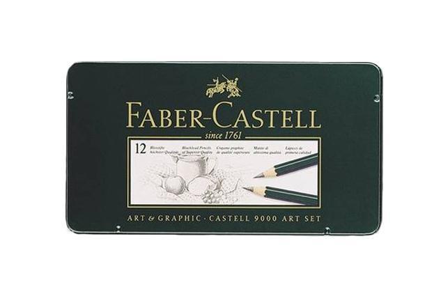 Чернографитовые карандаши CASTELL® 9000, твердость 2B, 3B, 4B, B, HB, F, H, 2H, 3H, 4H, 5H, 6H, в металлической коробке, 12 шт.