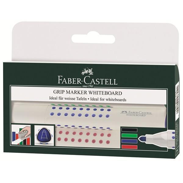 Faber-Castell Набор маркеров Grip 4 цвета158304Вид маркера: Стираемый. Форма наконечника: Круг. Для какой поверхности: Маркерная доска. Назначение: Для досок. Назначение: Для рисования. Материал: пластик.