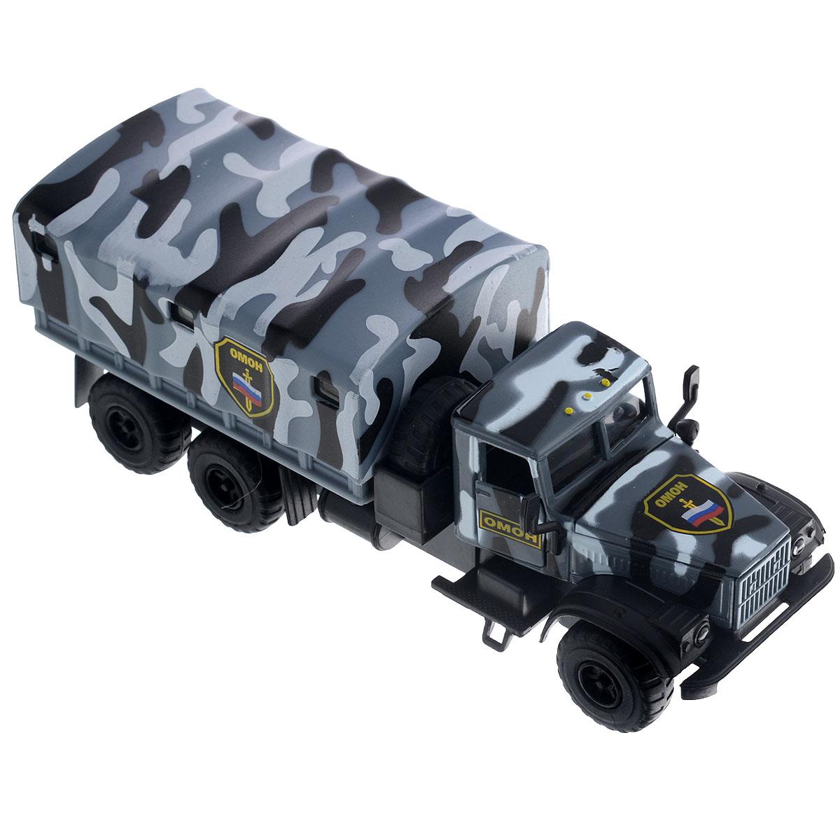 ТехноПарк Машинка инерционная Краз 255 ОМОНCT10-094-3Машинка ТехноПарк Краз 255: ОМОН, выполненная из безопасного пластика в виде машины ОМОНа, станет любимой игрушкой вашего малыша. У машины открываются двери кабины, капот и снимается тент. При нажатии кнопки, расположенной на корпусе кабины, начинают светиться фары под голос инспектора, сообщающего о необходимости снижения скорости. Игрушка оснащена инерционным ходом. Машинку необходимо отвести назад, затем отпустить - и она быстро поедет вперед. Прорезиненные колеса обеспечивают надежное сцепление с любой поверхностью пола. Ваш ребенок будет часами играть с этой машинкой, придумывая различные истории. Порадуйте его таким замечательным подарком! Игрушка работает от батареек (товар комплектуется демонстрационными).