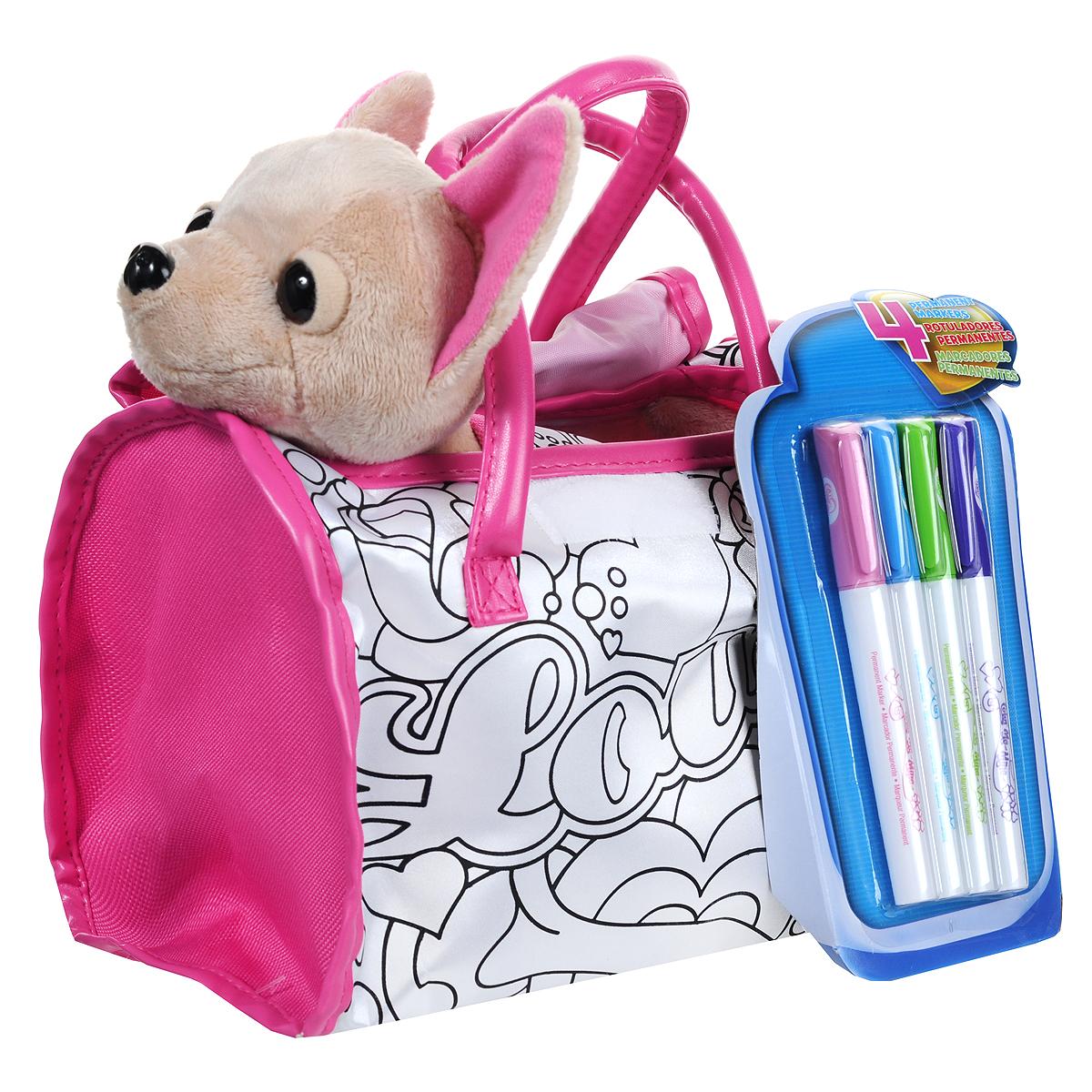Simba Мягкая игрушка Chi Chi Love Чихуахуа, с сумкой и маркерами, 20 см5895299Очаровательная мягкая игрушка Chi Chi Love Чихуахуа, выполненная в виде симпатичной собачки, непременно понравится маленьким модницам. На собачке песочного цвета надета накидка в форме сердечка, фиксирующаяся на животике с помощью липучки. Чудесная игрушка принесет радость и подарит своей обладательнице мгновения нежных объятий и приятных воспоминаний. Собачка изготовлена из мягкого плюша, глазки и носик пластиковые. У чихуахуа гнутся лапки. В комплект с игрушкой входит стильная сумочка с надписью Love и четыре перманентных маркера фиолетового, салатового, голубого и розового цветов. С помощью маркеров ваша малышка сможет раскрасить накидку и сумочку, создав неповторимый дизайн. Порадуйте свою малышку таким замечательным подарком, и он подчеркнет ее образ городской модницы!