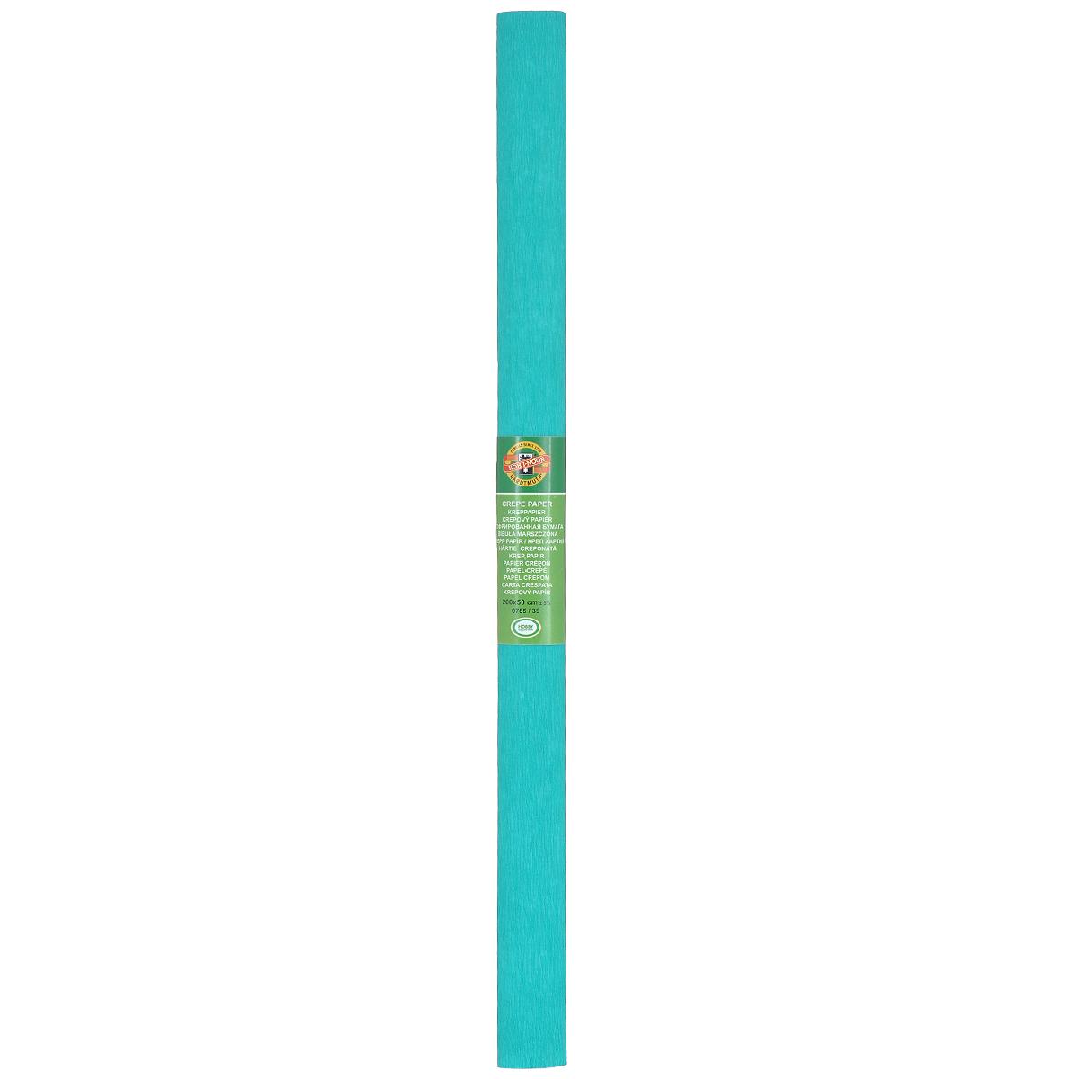 Бумага гофрированная Koh-I-Noor, цвет: бирюзовый, 50 см x 2 м9755/35Крепированная бумага Koh-I-Noor - прекрасный материал для декорирования, изготовления эффектной упаковки и различных поделок. Бумага прекрасно держит форму, не пачкает руки, отлично крепится и замечательно подходит для изготовления праздничной упаковки для цветов.