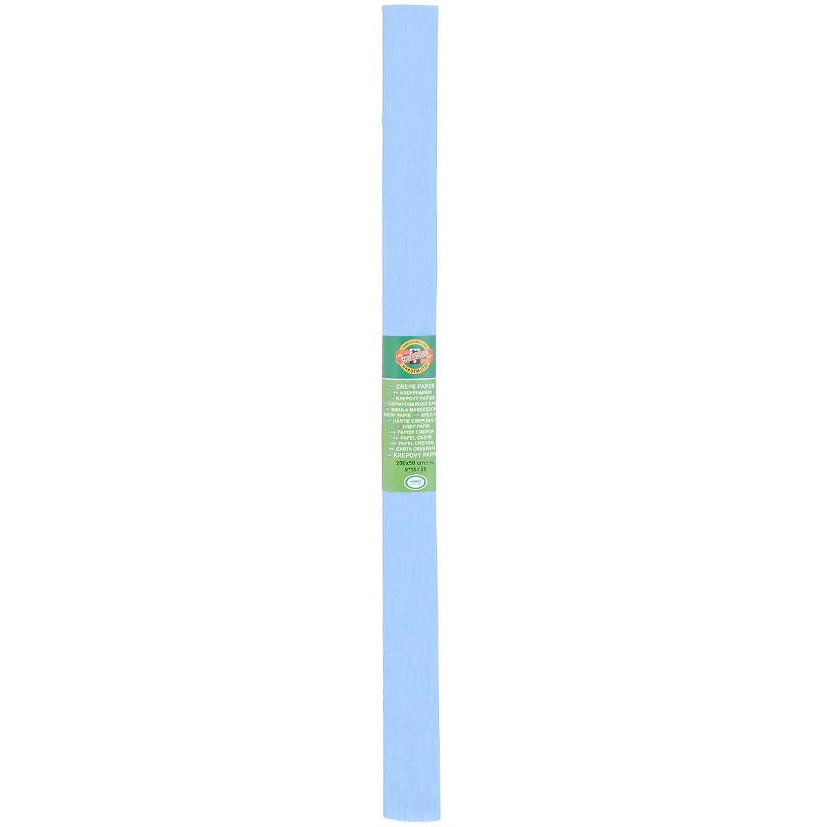 Бумага гофрированная Koh-I-Noor, цвет: голубой, 50 см x 2 м9755/25Крепированная бумага Koh-I-Noor - прекрасный материал для декорирования, изготовления эффектной упаковки и различных поделок. Бумага прекрасно держит форму, не пачкает руки, отлично крепится и замечательно подходит для изготовления праздничной упаковки для цветов.