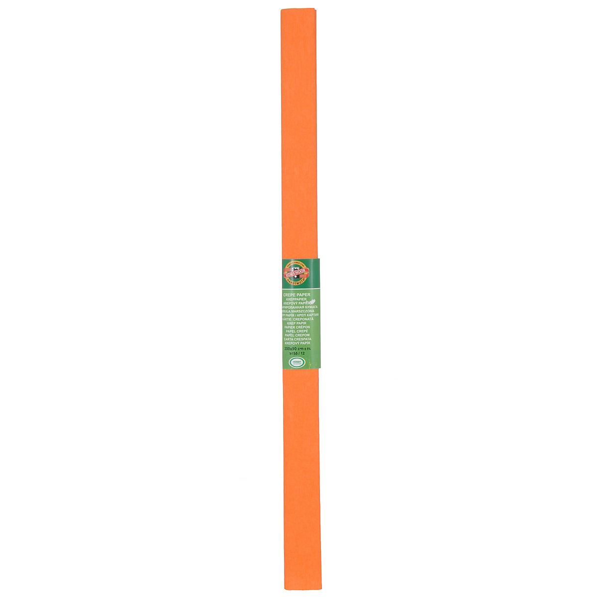 Бумага гофрированная Koh-I-Noor, цвет: оранжевый, 50 см x 2 м9755/12Крепированная бумага Koh-I-Noor - прекрасный материал для декорирования, изготовления эффектной упаковки и различных поделок. Бумага прекрасно держит форму, не пачкает руки, отлично крепится и замечательно подходит для изготовления праздничной упаковки для цветов.