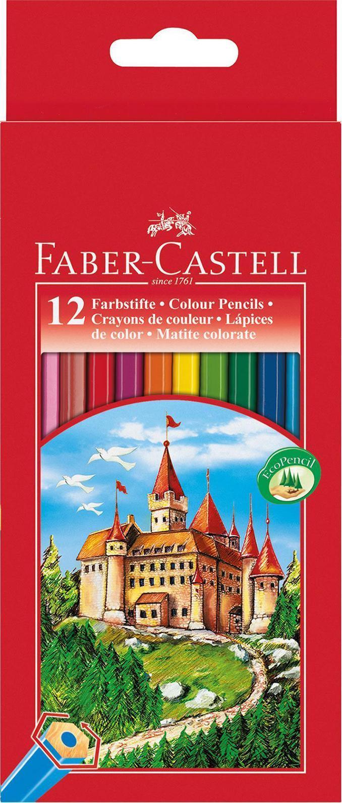 Цветные карандаши ЗАМОК, набор цветов, в картонной коробке, 12 шт.111212Вид карандаша: цветной. Материал: дерево.