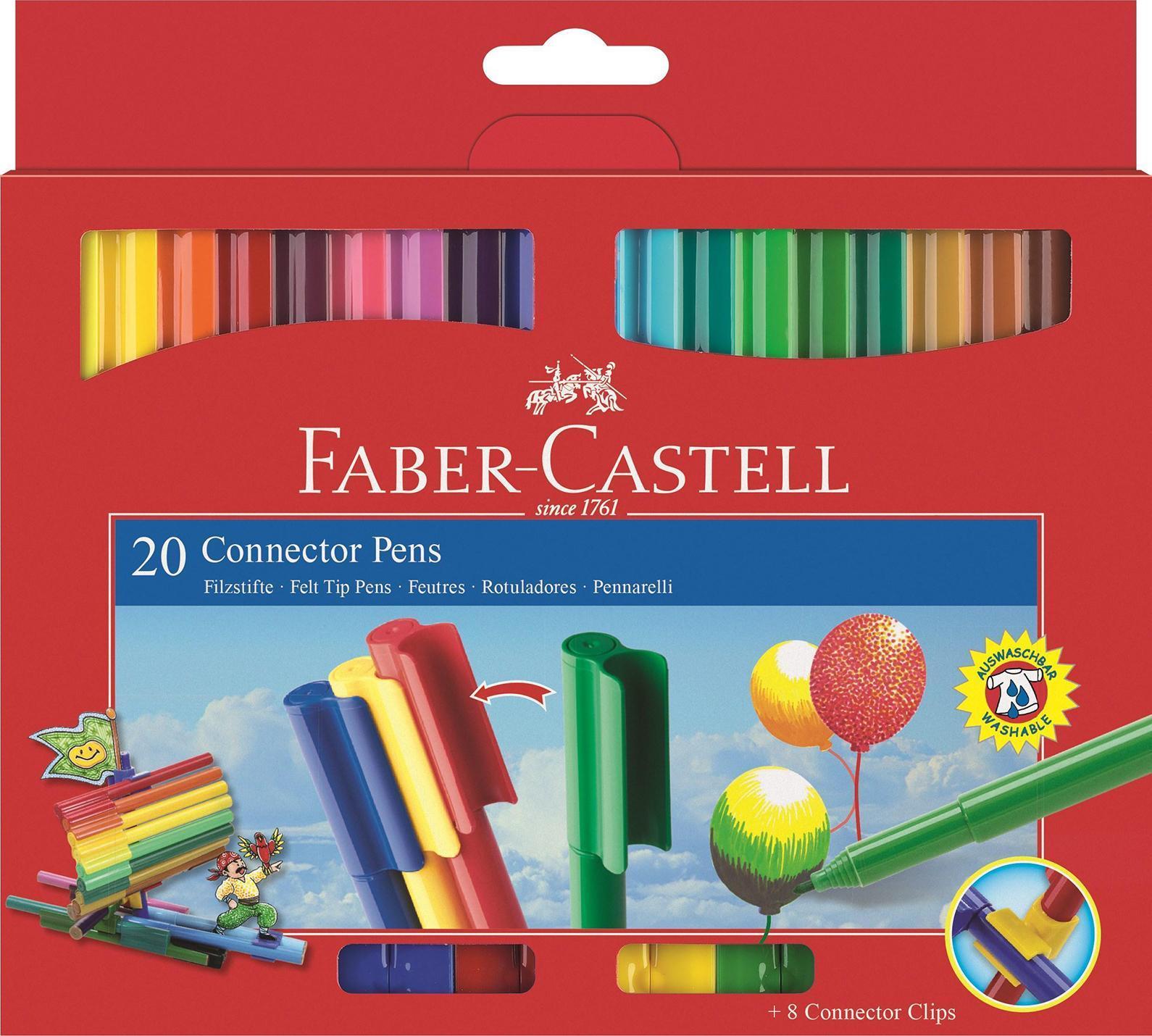 Faber-Castell Фломастеры 20 цветов155520Фломастеры Faber-Castell помогут маленькому художнику раскрыть свой творческий потенциал и рисовать и раскрашивать яркие картинки, развивая воображение, мелкую моторику и цветовосприятие. В наборе 20 разноцветных фломастеров с колпачками, дополненными пластиковыми клипами, благодаря чему фломастеры легко соединяются между собой. Фломастеры удобно брать в собой в поездку, на прогулку. Соединенные между собой необычными клип-зажимами, они не потеряются. Фломастеры изготовлены из пластика, который обеспечивает прочность корпуса и препятствует испарению чернил, благодаря чему они имеют долгий срок службы.