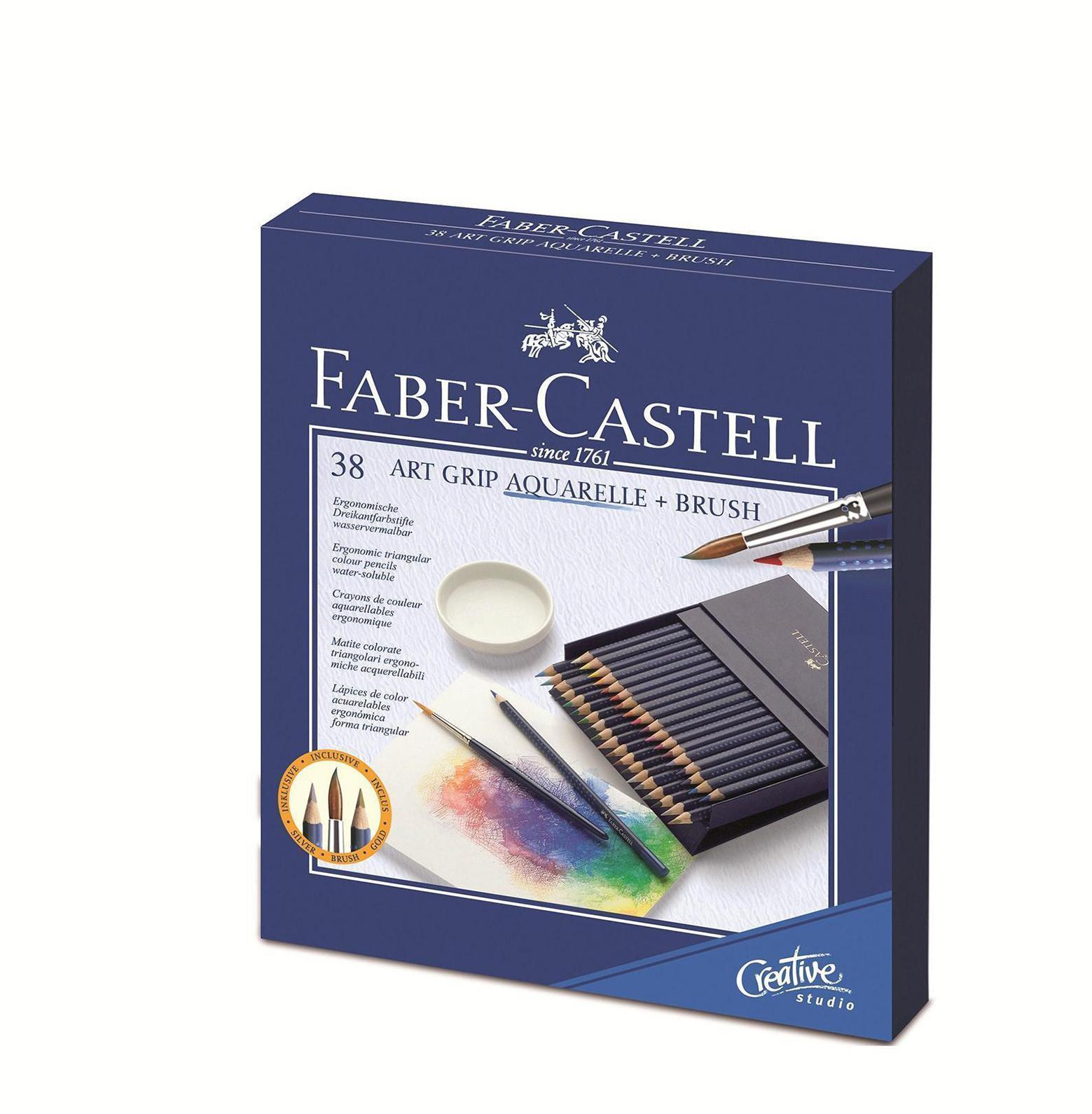 Акварельные карандаши ART GRIP AQUARELLE с кисточкой, набор цветов, в студийной (кожзам) коробке , 38 шт.114238Вид карандаша: Акварельный. Материал: дерево.