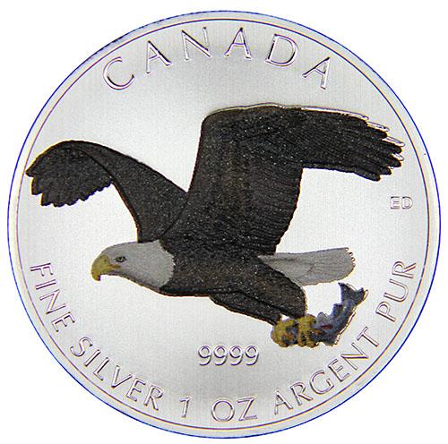 Монета номиналом 5 долларов Орел, цветной принт. Канада, 2014 год1806-1808**Монета номиналом 5 долларов Орел, цветной принт. Канада, 2014 год Диаметр: 40 мм Вес: 31,1 гр. Гурт: рубчатый Сохранность: очень хорошая Качество печати: Proof