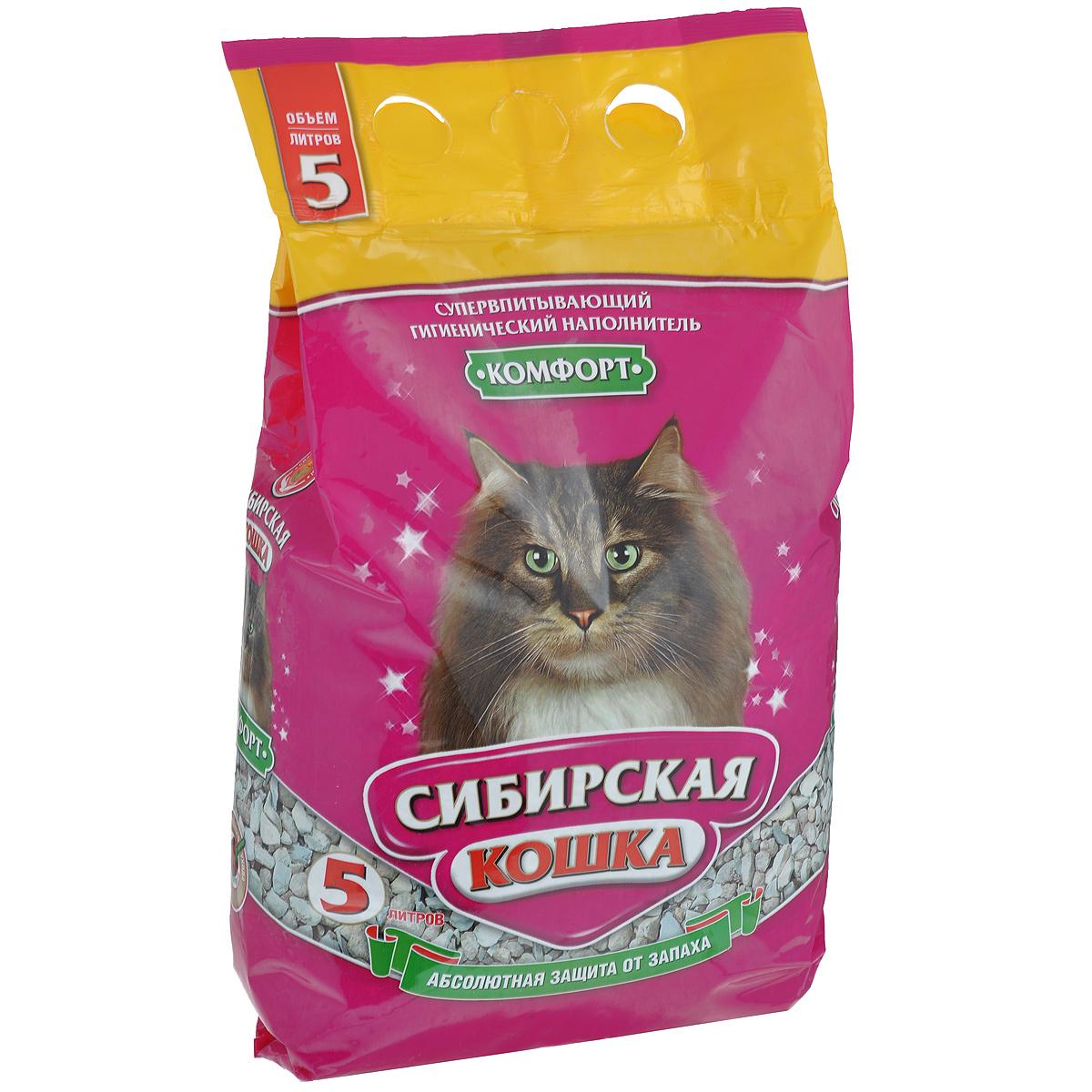 Наполнитель для кошачьих туалетов Сибирская Кошка Комфорт, 5 л0091Экологически чистый супервпитывающий наполнитель для кошачьих туалетов Сибирская Кошка Комфорт производится из опоки - легкой, твердой, кремнистой сильно-тонко-пористой горной породы, богатой (до 97%) аморфным кремнеземом, с примесью песка и глинистых частиц. Опока - сильный адсорбент. Полностью поглощает все неприятные запахи, подавляет рост бактерий и других микроорганизмов. Быстро впитывает влагу. Не образует никаких комков и грязи, поэтому не требуется ежедневного ухода за кошачьим туалетом. Состав: опока (горная порода). Объем: 5 л. Товар сертифицирован.