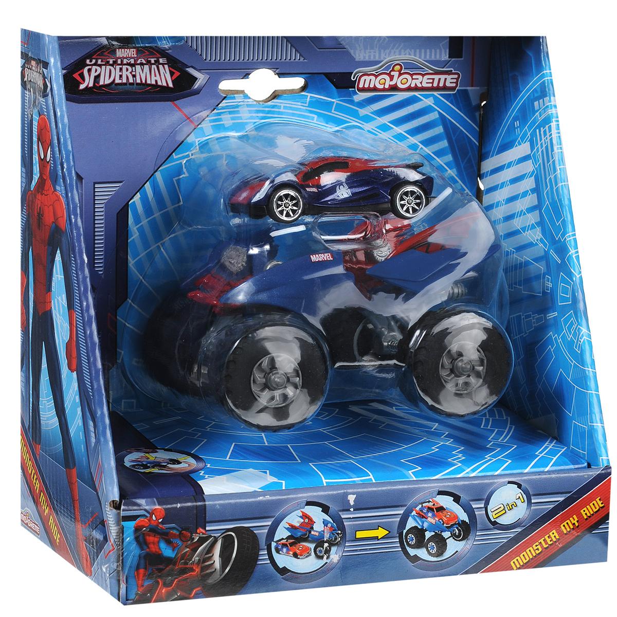 Majorette Игровой набор Spider-Man Автомобиль и шасси 2в13089798Игровой набор Spider-Man Автомобиль и шасси понравится маленькому любителю комиксов о Человеке-пауке. В него входят машинка и шасси с большими колесами. Если соединить их, получится крутой внедорожник. Ваш малыш будет в восторге от такого подарка!