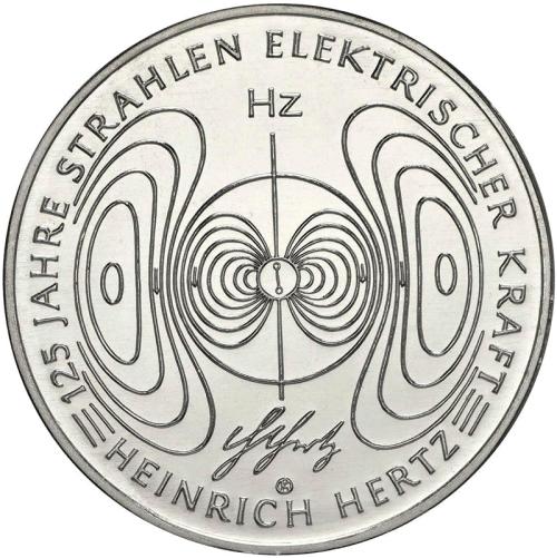 Монета номиналом 10 евро 125 лет работе «О лучах электрической силы» Генриха Герца. Германия, 2013 год1806-1808**Металл: Cu-Ni Диаметр: 32.5 мм Масса: 14,0 г я)