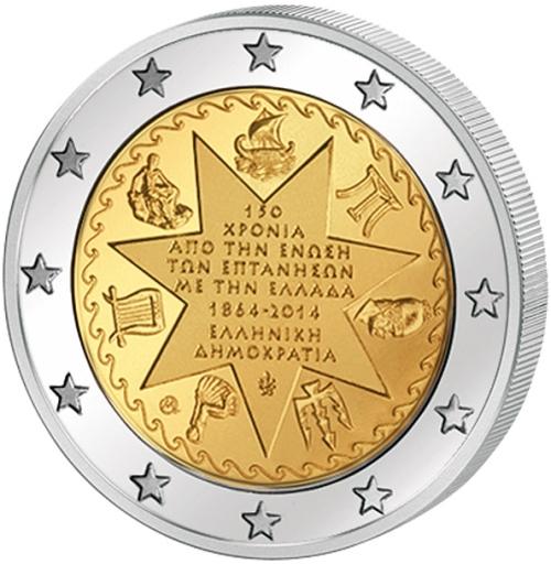 Монета номиналом 2 евро 150-летие союза Ионических островов с Грецией. Греция, 2014 год1806-1808**Монета номиналом 2 евро 150-летие союза Ионических островов с Грецией. Греция, 2014 год Диаметр 2,5 см. Сохранность UNC (без обращения).