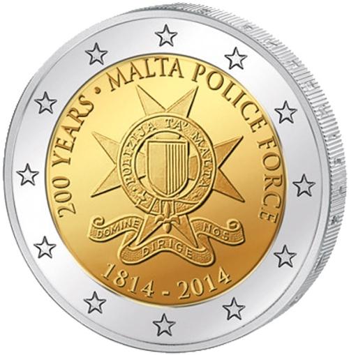 Монета номиналом 2 евро 200 лет полиции Мальты. Мальта, 2014 год1806-1808**Монета номиналом 2 евро 200 лет полиции Мальты. Мальта, 2014 год Диаметр 2,5 см. Сохранность UNC (без обращения).
