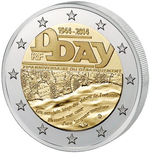 Монета номиналом 2 евро 70 лет высадке в Нормандии (D-Day). Франция, 2014 год656Монета номиналом 2 евро 70 лет высадке в Нормандии (D-Day). Франция, 2014 год Диаметр 2,5 см. Сохранность UNC (без обращения).