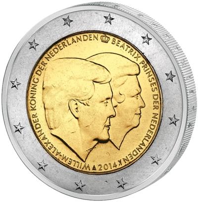 Монета номиналом 2 евро Двойной портрет. Виллем-Александер и Беатрикс. Нидерланды, 2014 год656Монета номиналом 2 евро Двойной портрет. Виллем-Александер и Беатрикс. Нидерланды, 2014 год Диаметр 2,5 см. Сохранность UNC (без обращения).