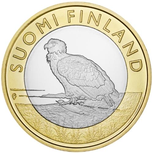 Монета номиналом 5 евро Аландские острова. Орлан-белохвост. Финляндия, 2014 год1806-1808**Монета номиналом 5 евро Аландские острова. Орлан-белохвост. Финляндия, 2014 год Металл: Биметалл (Cu-Ni, Латунь) Диаметр: 27,25 мм Масса: 10,0 г Состояние: UNC Тираж: 35000 шт.