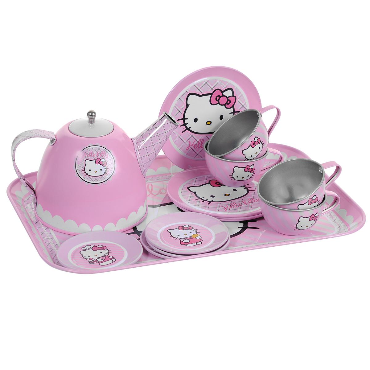Smoby Набор посудки Hello Kitty, 14 предметов24783Набор детской посуды Hello Kitty несомненно привлечет внимание вашей малышки и не позволит ей скучать. Элементы набора выполнены из металла. выкрашены в розовый цвет и оформлены изображениями всеми любимой кошечки Китти. В набор входят чайник, 4 чашки, 4 блюдца, 4 тарелки и поднос. С этим набором маленькая хозяйка будет часами занята игрой и сможет устроить для своих кукол незабываемое чаепитие.