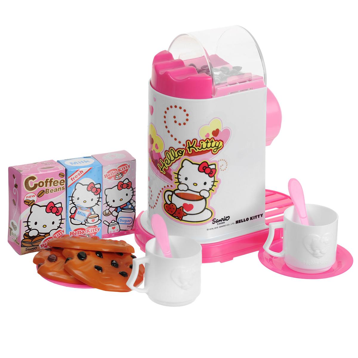 Simba Игровой набор Hello Kitty. Эспрессо-машина4733328Игровой набор Simba Hello Kitty. Эспрессо-машина привлечет внимание вашего малыша и не позволит ему скучать. Набор включает в себя эспрессо-машину, 3 печенья, 3 коробочки кофе, молока и сахара, 2 чашки, 2 ложки и 2 блюдца. Игрушечная эспрессо-машина очень похожа на настоящий кухонный прибор! Она предназначена для варки кофе. В верхней ее части в прозрачном отсеке находятся кофейные зерна, начинающие подпрыгивать при нажатии большой кнопки рядом с отсеком. На корпусе расположены четыре кнопки, три из которых воспроизводят звуки работающей кофеварки, а одна - фразы всеми любимой кошечки Китти. Дверца эспрессо-машины открывается, внутрь можно поместить чашку. С таким набором ваша малышка сможет приготовить вкусный кофе для своих игрушек. Игрушечная бытовая техника не только развлекает ребенка, но и знакомит его с правилами использования электроприборов. Порадуйте его таким замечательным подарком! Рекомендуется докупить 3 батарейки напряжением 1,5V типа...