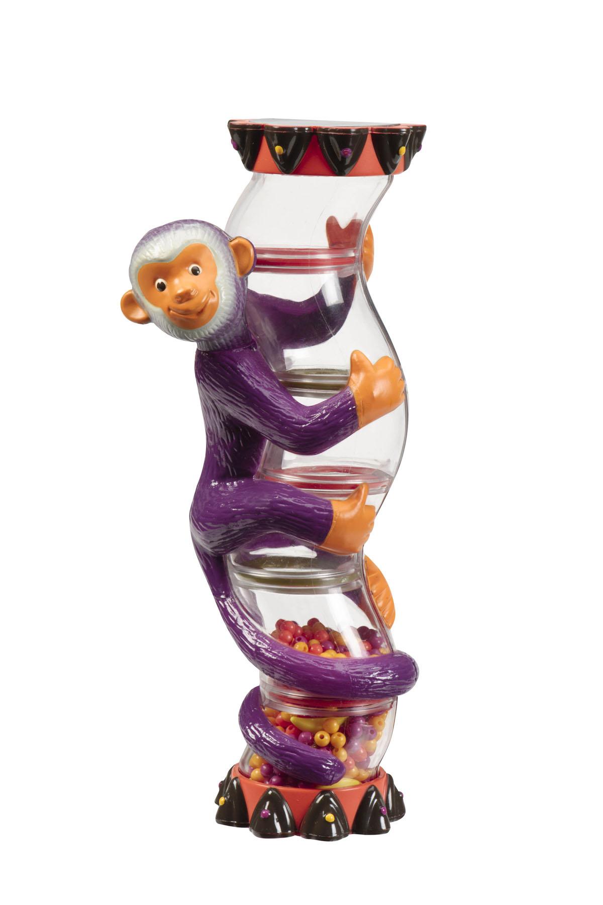 Battat Погремушка Обезьянка68664Оригинальная погремушка Обезьянка, выполненная в виде веселой обезьянки, непременно, вызовет улыбку у вашего крохи. Погремушка имеет удобную анатомическую форму. Внутри игрушки расположено множество бусинок и бананчиков, весело прыгающих при потряхивании игрушки. Погремушка Обезьянка способствует развитию тактильных ощущений, мелкой моторики рук малыша, формирует цветовое и звуковое восприятие.
