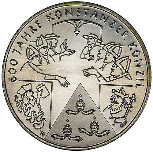 Монета номиналом 10 евро 600 Лет Констанцкому Собору. Германия, 2014 год656Монета номиналом 10 евро 600 Лет Констанцкому Собору. Германия, 2014 год Металл: Cu-Ni Диаметр: 32,5 мм Масса: 14,0 г Состояние: UNC (без обращения)