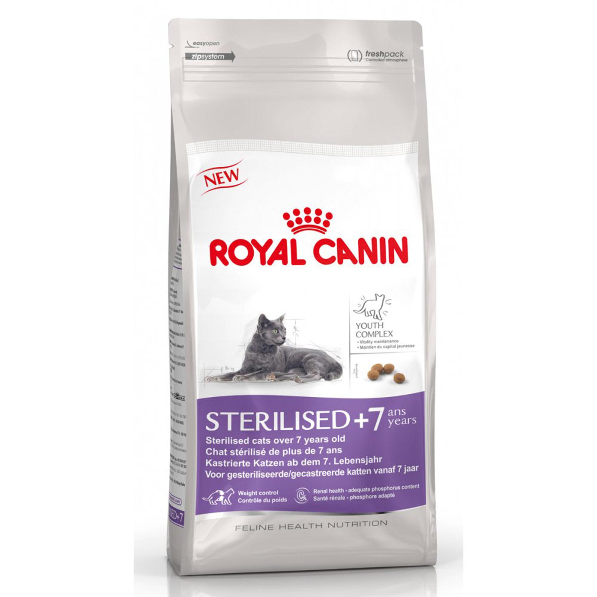 Корм сухой Royal Canin Sterelised 7+, для кастрированных котов и стерилизованных кошек, 400 г497004-497844Корм сухой Royal Canin Sterelised 7+ - полнорационное питание корм для стерилизованных кошек старше 7 лет. Стерилизация увеличивает среднюю продолжительность жизни кошки, но также повышает риски возрастных заболеваний. Например, у стерилизованных кошек с возрастом повышается риск образования мочевых камней. Поддержание здоровья в старости. Корм помогает сохранять молодость кошки благодаря запатентованному комплексу витаминов и питательных веществ с антиоксидантными свойствами и полифенолам зеленого чая и винограда. Хондропротекторные вещества и незаменимые жирные кислоты EPA и DHA, содержащиеся в этом продукте, поддерживают здоровье суставов кошки. Контроль веса тела: корм помогает сохранять оптимальный вес стерилизованной кошки за счет контроля потребления калорий и крахмала. Добавление L-карнитина (100 мг/кг) способствует мобилизации жировых отложений. Обеспечение здоровья почек – адекватное содержание фосфора: адаптированный уровень фосфора...