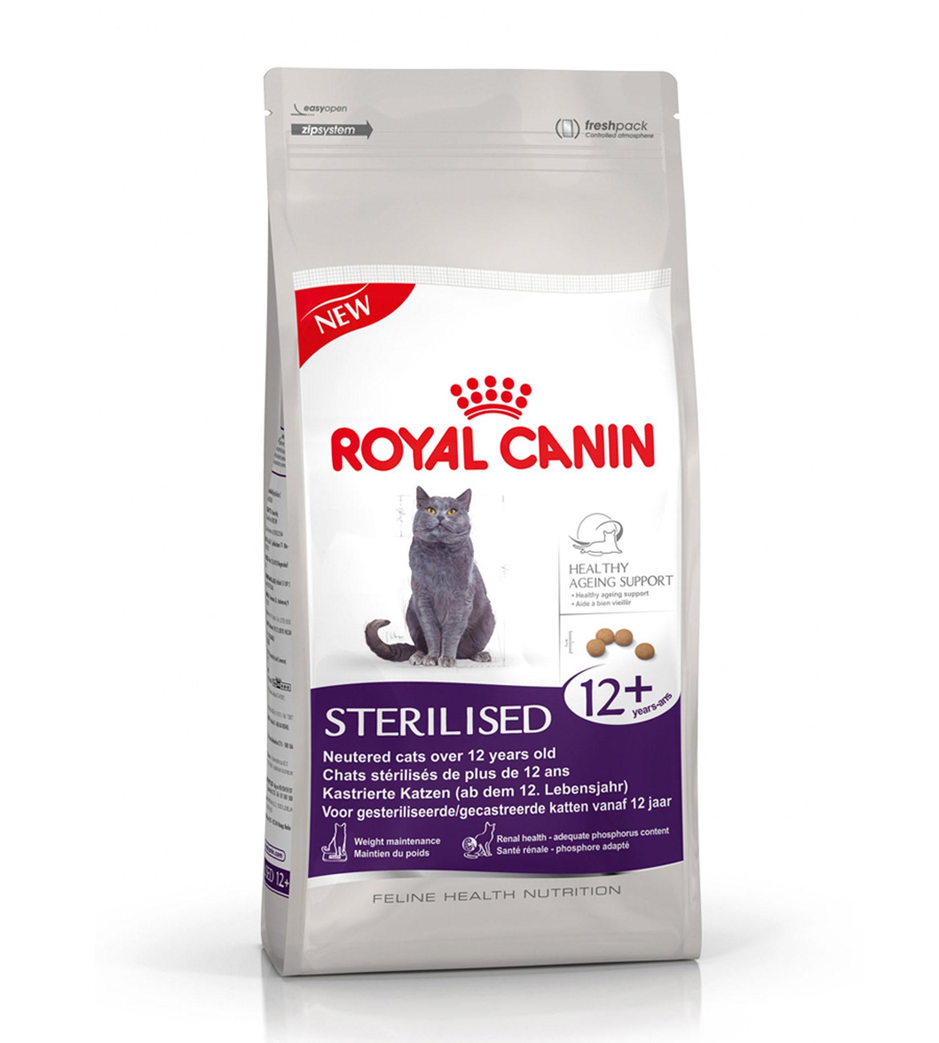 Корм сухой Royal Canin Sterelised 12+, для кастрированных котов и стерилизованных кошек старше 12 лет, 400 г533004Корм сухой Royal Canin Sterelised 12+ - полнорационный сухой корм подходит стареющим стерилизованным кошкам старше 12 лет. Поддержание здоровья кошки в старости. Корм STERILISED 12+ помогает поддерживать здоровье стареющих стерилизованных кошек с помощью комплекса антиоксидантов (витамины, ликопен, полифенолы зеленого чая и винограда) и повышенного содержания незаменимых жирных кислот. Контроль веса кошки. Корм поддерживает оптимальную массу тела стареющей стерилизованной кошки благодаря умеренному уровню жиров. Здоровье почек - оптимальный уровень фосфора. Корм содержит фосфор в количестве, адаптированном для стерилизованных кошек (0,6%), что помогает сохранить здоровье почек. Состав: кукуруза, изолят растительных белков, кукурузная мука, дегидратированные белки животного происхождения (птица), кукурузная клейковина, пшеница, животные жиры, растительная клетчатка, гидролизат белков животного происхождения, экстракт цикория, минеральные...