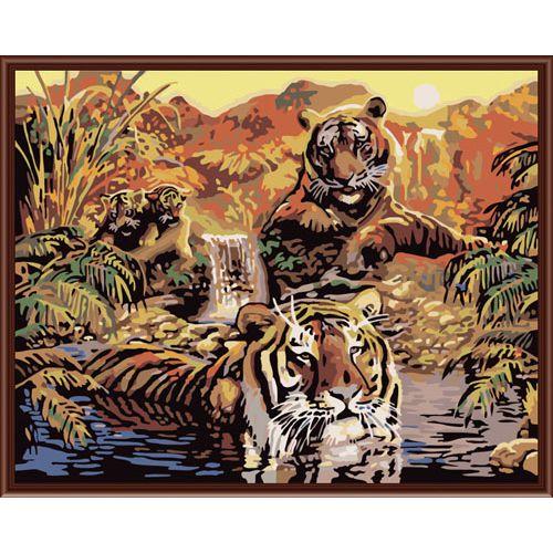 Живопись на холсте Fresh Art Семья тигров, 40 х 50 см G3527704803Живопись на холсте Fresh Art Семья тигров - это набор для раскрашивания по номерам красками на холсте. Каждая краска имеет свой номер, соответствующий номеру на картинке. Нужно только аккуратно нанести необходимую краску на отмеченный для нее участок. Таким образом, шаг за шагом у вас получится великолепная картина. С помощью такого набора вы можете стать настоящим художником и создателем прекрасных картин. Вы получите истинное удовольствие от погружения в процесс творчества, и созданные своими руками картины украсят интерьер вашего дома или станут прекрасным подарком. Техника раскрашивания на холсте по номерам дает возможность легко рисовать даже сложные сюжеты. Прекрасно развивает художественный вкус, аккуратность и внимание. В набор входят: - профессиональный прогрунтованный холст из 100% хлопка, натянутый на деревянный подрамник, - специально разработанные нетоксичные, экологичные, безопасные, устойчивые к выцветанию краски (22 цвета), - кисть...