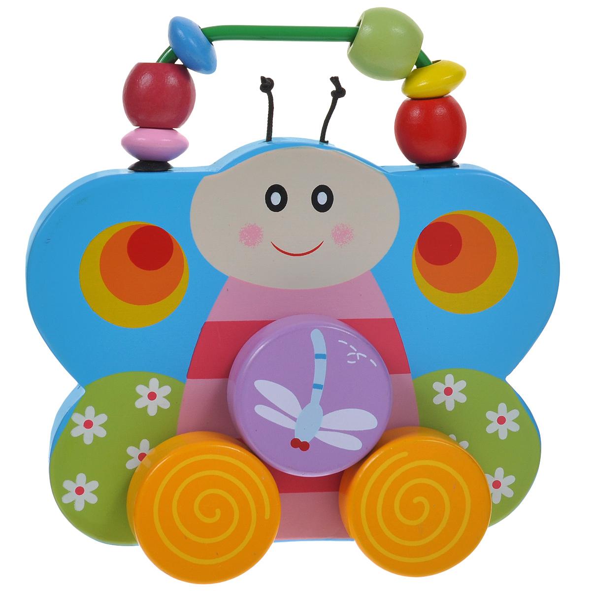 Mapacha Деревянная игрушка-каталка Бабочка76428Деревянная игрушка-каталка Mapacha Бабочка непременно понравится вашему малышу и подойдет для игры как дома, так и на свежем воздухе. Она выполнена из дерева с использованием нетоксичных красок в виде красочной бабочки с двумя текстильными усиками. Края игрушки закруглены, чтобы избежать вероятности травмирования. В верхней части игрушки расположена металлическая дуга с нанизанными на нее деревянными бусинами разных форм и цветов. Ребенок сможет перебирать из пальчиками, тренируя мелкую моторику рук. Бабочка оснащена четырьмя колесиками. С обеих сторон над ними находится еще одно колесико с изображением стрекозы. Когда малыш катает игрушку, стрекоза крутится вместе с остальными колесиками. Игрушка-каталка Mapacha Бабочка развивает пространственное мышление, цветовое восприятие, ловкость, равновесие и координацию движений. Контрастное оформление бабочки стимулируют развитие координации глаз, учат следить за мелкими движущимися объектами.