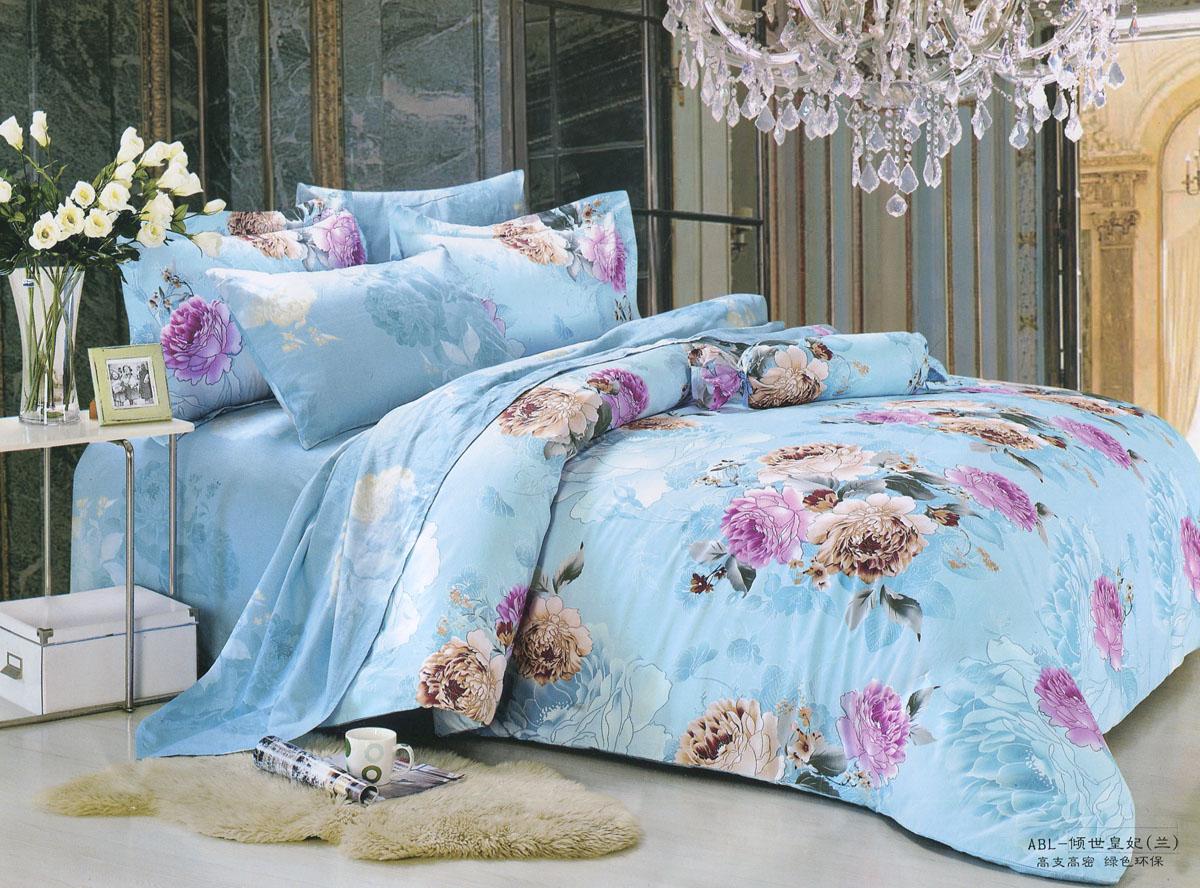 Комплект белья Happy Bear Цветение (евро КПБ, хлопок, наволочки 50х70)JT-5Комплект постельного белья Happy Bear Цветение, изготовленный из натурального хлопка, подарит спокойный здоровый сон, комфорт и уют. Комплект состоит из пододеяльника, простыни и двух наволочек. Постельное белье голубого цвета оформлено изысканными цветочными узорами. Такой комплект украсит интерьер спальни и поможет создать неповторимую атмосферу. Материал: 100% хлопок (поплин). В комплект входят: Пододеяльник - 1 шт. Размер: 200 см х 220 см. Простыня - 1 шт. Размер: 230 см х 250 см. Наволочка - 2 шт. Размер: 50 см х 70 см.