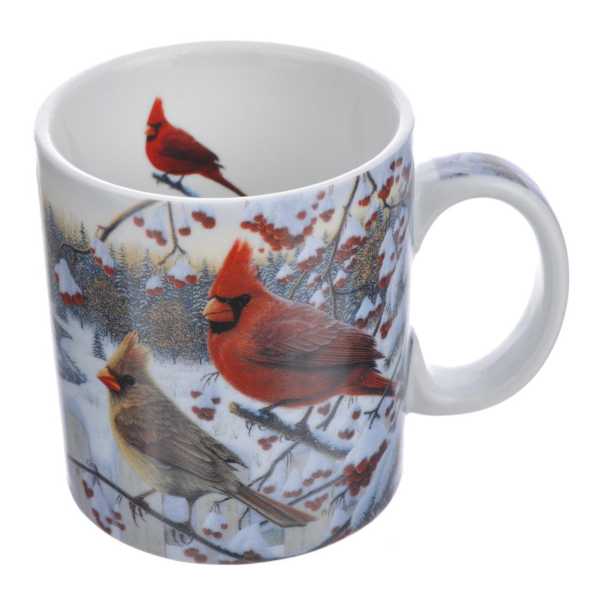 Кружка Reflective Art White Crimson Morning, 425 мл14129Кружка Reflective Art White Crimson Morning изготовлена из высококачественного фарфора. Изделие оформлено красочным изображением зимней природы по мотивам картины американского художника Кима Норлиена. Ручка также оформлена изображением, внутренняя поверхность кружки белого цвета декорирована изображением птицы. Такая кружка согреет горячим чаем в зимние вечера и станет прекрасным сувениром к Новому Году. Можно использовать в микроволновой печи и мыть в посудомоечной машине.