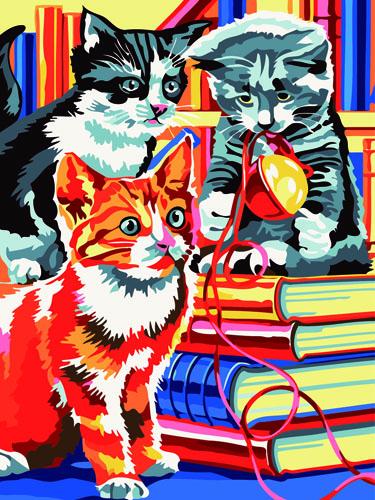 Живопись на холсте Fresh Art Три котенка, 40 см х 50 см. GX60067706633Живопись на холсте Fresh Art Три котенка - это набор для раскрашивания по номерам красками на холсте. Каждая краска имеет свой номер, соответствующий номеру на картинке. Нужно только аккуратно нанести необходимую краску на отмеченный для нее участок. Таким образом, шаг за шагом у вас получится великолепная картина. С помощью такого набора вы можете стать настоящим художником и создателем прекрасных картин. Вы получите истинное удовольствие от погружения в процесс творчества, и созданные своими руками картины украсят интерьер вашего дома или станут прекрасным подарком. Техника раскрашивания на холсте по номерам дает возможность легко рисовать даже сложные сюжеты. Прекрасно развивает художественный вкус, аккуратность и внимание. В набор входят: - профессиональный прогрунтованный холст из 100% хлопка, натянутый на деревянный подрамник, - специально разработанные нетоксичные, экологичные, безопасные, устойчивые к выцветанию краски (20 цветов), - 3...
