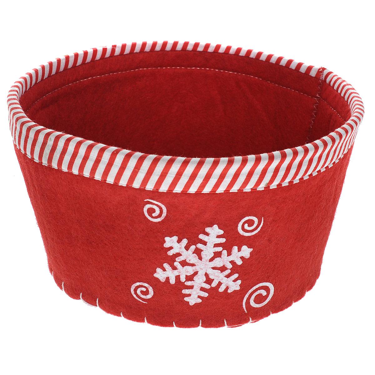 Сухарница House & Holder Снежинка, цвет: красный. 117003117003Оригинальная сухарница House & Holder Снежинка, выполненная из фетра, декорирована отстрочкой и текстильной окантовкой по краю, а также рисунком снежинки. Сухарница станет необычным дополнением к праздничному столу, послужит приятным и полезным сувениром для близких и родных.