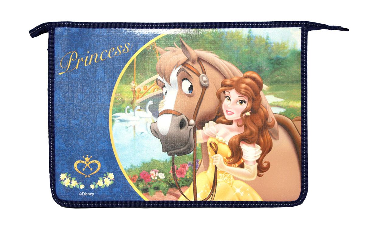 """Папка Росмэн """"Disney: Принцессы"""", на молнии, цвет: синий. Формат А4 22593"""