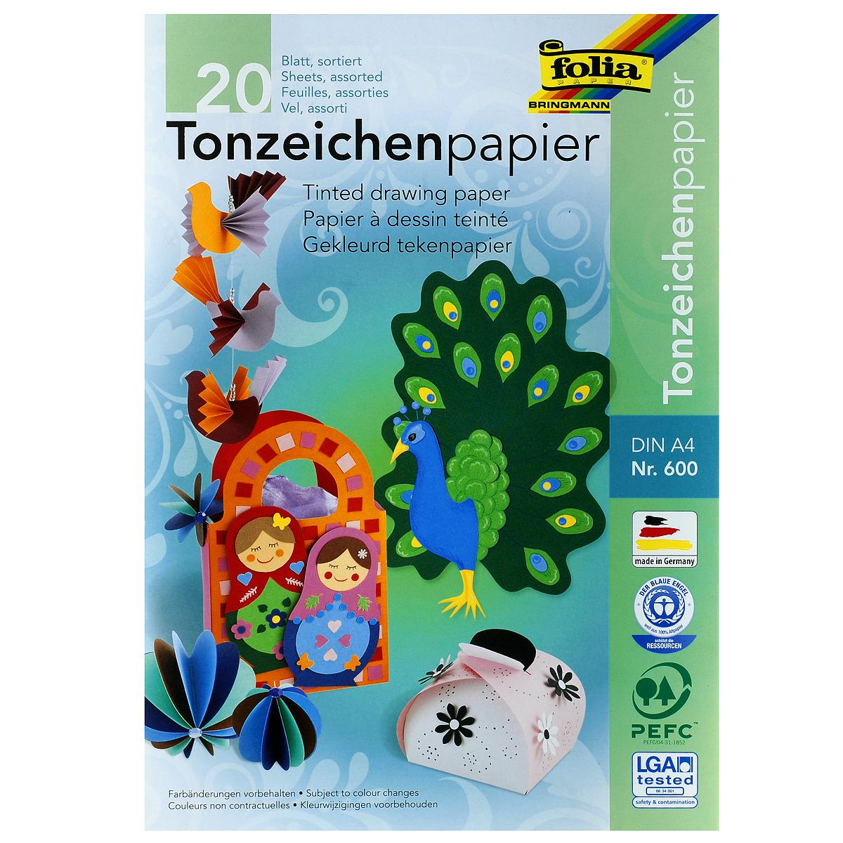 Набор двусторонней цветной бумаги Folia, 20 листовF600Набор цветной двусторонней бумаги Folia позволит создавать всевозможные аппликации и поделки. В набор входит бумага желтого, оранжевого, красного, розового, голубого, салатового, зеленого, синего, коричневого и черного цветов. Создание поделок из цветной бумаги позволяет ребенку развивать творческие способности, кроме того, это увлекательный досуг.