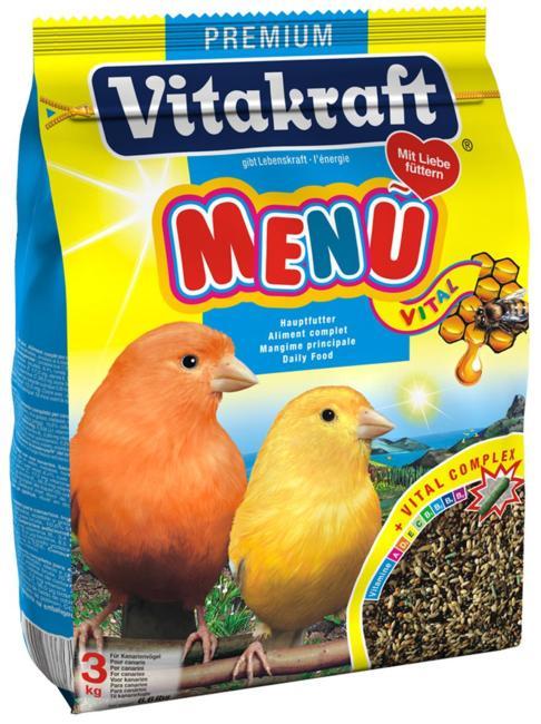Корм для канареек Vitakraft Menu Vital, 500 г10620Основной корм для канареек Vitakraft Menu Vital из семян канареечного и льняного семени, репы, желтого проса и меда. Обогащен дополнительными компонентами в виде шариков, чтобы поддерживать иммунную систему против микроорганизмов, улучшать здоровье в целом. Menu Vital содержит все необходимые витамины и минеральные вещества. Мед и рыбий жир улучшает рост перьев. Ингредиенты: семена канареечного вьюрка, рапсовые семена, льняные семена, желтое просо, овес, красное просо, семена редиски, сухари, овсяная крупа, киви, апельсин, D-глюкоза, фосфат кальция, соевое масло. Гарантированный анализ: мин. сырого белка - 15,8%, мин. сырого жира (масел) - 14,3%, макс. сырой клетчатки - 15,3%, макс. влажности - 10,7% макс. золы - 4,6%, мин. кальция - 0,1%. Витамин А - 1800 МЕ/1 фунт, витамин D3 - 340 МЕ/1 фунт, витамин С - 9 мг/1 фунт, витамин В2 - 0,45мг/1 фунт. Рекомендации к применению: 1 чайная ложка в день. Товар сертифицирован.