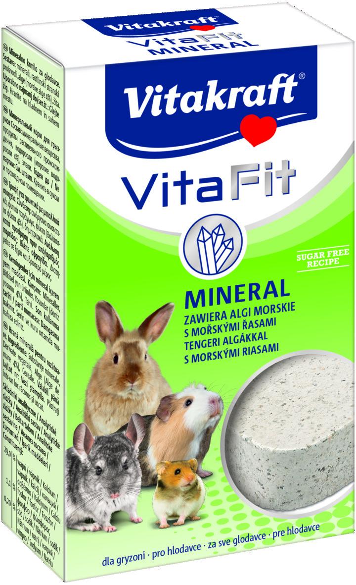 Камень для грызунов Vitakraft Mineral, 170 г10628Камень для грызунов Vitakraft Mineral - кормовая добавка, которая обеспечивает грызунов необходимыми солями и минеральными веществами, восполняет недостаток натрия и укрепляет здоровье. Состав: минеральные вещества, растительные субпродукты, водоросли (4%), злаки, молоко и молочные продукты. Товар сертифицирован.