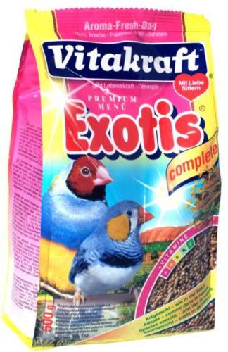 Корм для экзотических птиц Vitakraft Exotis, 500 г18112Основной корм для экзотических птиц Vitakraft Exotis, обогащенный минералами, витаминами и протеином. Корм поддерживает обмен веществ и здоровье птиц. Состав: зерновые, злаковые, минеральные вещества, вещества растительного происхождения, дрожжи, мед. Анализ состава: белок - 12,6%, витамин А - 6000 МЕ, жир - 5,5%, витамин Д3 - 600 МЕ, зола - 3,8%, витамин С - 55 мг, целлюлоза - 9%, витамин В2 - 3 мг. Товар сертифицирован.
