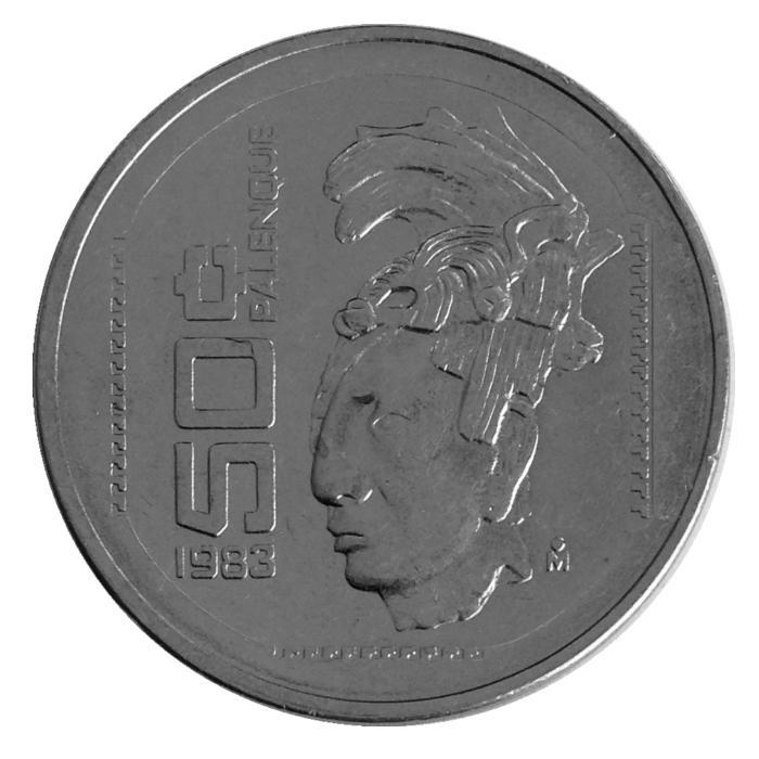 Монета номиналом 50 сентаво Паленке. Культура майя. Мексика. 1983 год656Диаметр монеты: 22 мм. Материал: Нержавеющая сталь. Состояние: VF - XF.
