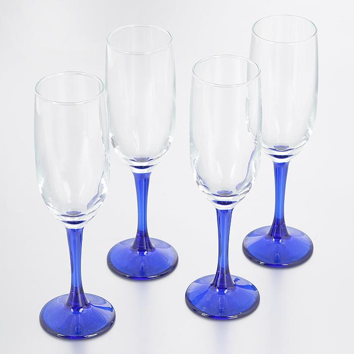 Набор бокалов для шампанского Pasabahce Workshop Imperial, цвет: синий, 155 мл, 4 шт44819BBMНабор Pasabahce Workshop Imperial состоит из четырех бокалов, выполненных из прочного натрий-кальций-силикатного стекла. Изделия оснащены высокими тонкими цветными ножками. Бокалы излучают приятный блеск и издают мелодичный звон. Предназначены для шампанского. Набор бокалов Pasabahce Workshop Imperial прекрасно оформит праздничный стол и станет хорошим подарком к любому случаю. Можно мыть в посудомоечной машине и использовать в микроволновой печи.