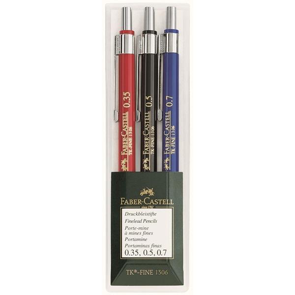 Механические карандаши TK®-FINE, 0,35, 0,5, 0,7мм, в пластмассовом пенале, 3 шт.130622Вид карандаша: Механический. Твердость грифеля: HB. Особенности: С ластиком. Материал: пластик и сталь.