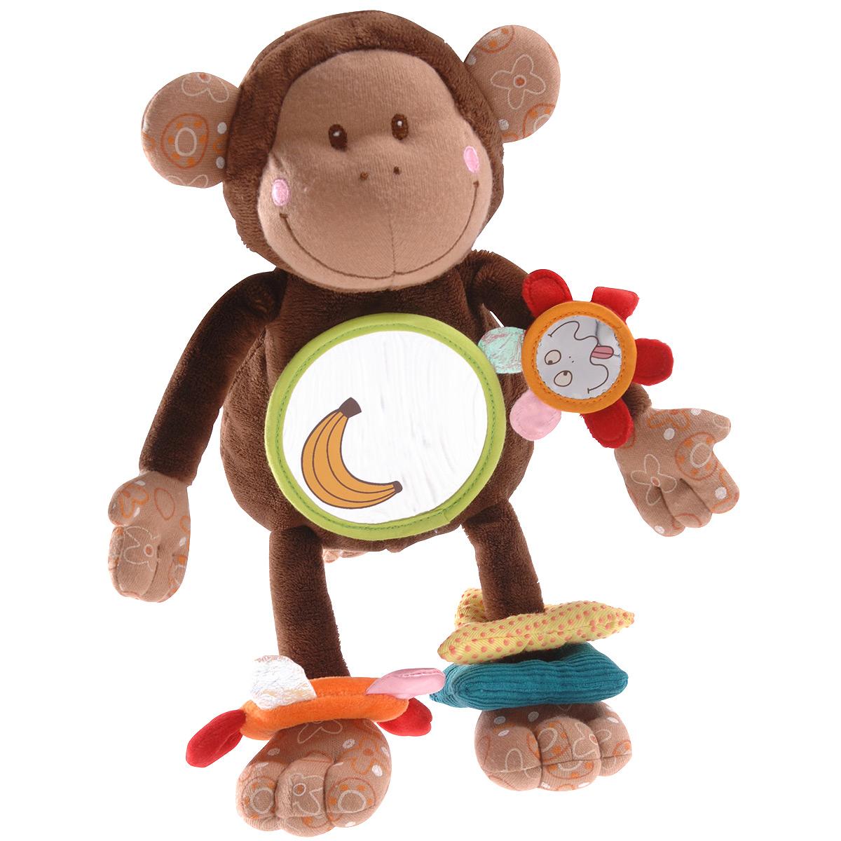 Lilliputiens Развивающая игрушка-подвеска Обезьянка Базиль86032Развивающая игрушка-подвеска Обезьянка Базиль привлечет внимание малыша и станет его любимой игрушкой. Игрушка выполнена в виде забавной обезьянки из современных, легких материалов разных цветов и фактур, абсолютно безопасных для ребенка. Никогда не унывающая обезьянка Базиль увлекает в мир познавательных и забавных игр: погремушки для ножек, цветные детали которой сделаны из разных по текстуре материалов, стимулируют тактильные ощущения. Колечко на левой ножке обезьянки оснащено шуршащим элементом. Правая ручка украшена забавным зеркальцем в виде цветка. На животике игрушки расположено большое безопасное зеркальце, в котором малыш может наблюдать выражения своего личика. Потяните игрушку за хвост - она начнет вибрировать и постепенно вернется в первоначальное положение. На спине игрушки расположена застежка-липучка, с помощью которой ее можно прикрепить к коляске, кроватке, манежу или дуге игрового коврика. Игрушка-подвеска Обезьянка Базиль поможет ребенку в...