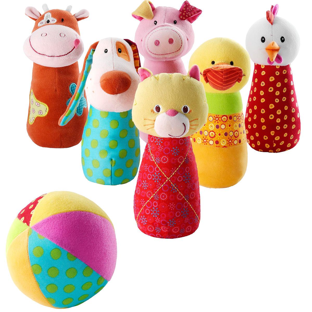 Игровой набор Lilliputiens Боулинг86280Игровой набор Lilliputiens Боулинг подарит вашему ребенку массу положительных эмоций. Набор выполнен из текстильного материала разных цветов и фактур и включает в себя шесть кеглей разных цветов и мячик. Необходимо расставить кегли и сбить как можно больше, запустив в них мяч. Кегли выполнены в виде животных: котика, свинки, собачки, коровки, курочки и уточки. Гранулы в основании помогают кеглям устойчиво стоять на ровной поверхности. Ушки собачки весело шуршат. Внутри мяча расположена сфера, звенящая при тряске. Ваш ребенок с удовольствием будет играть в боулинг, развивая ловкость, меткость и координацию движений, а также познакомится с животными.