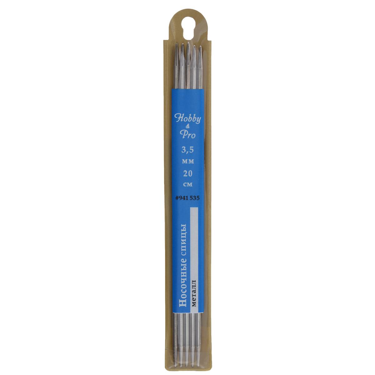 Спицы носочные Hobby & Pro, металлические, прямые, диаметр 3,5 мм, длина 20 см, 5 шт677210Спицы для вязания Hobby & Pro изготовлены из высококачественного металла. Спицы прочные, легкие, гладкие, удобные в использовании. Кончики спиц закругленные. Спицы без ограничителей предназначены для вязания шапочек, варежек и носков. Вы сможете вязать для себя и делать подарки друзьям. Рукоделие всегда считалось изысканным, благородным делом. Работа, сделанная своими руками, долго будет радовать вас и ваших близких.