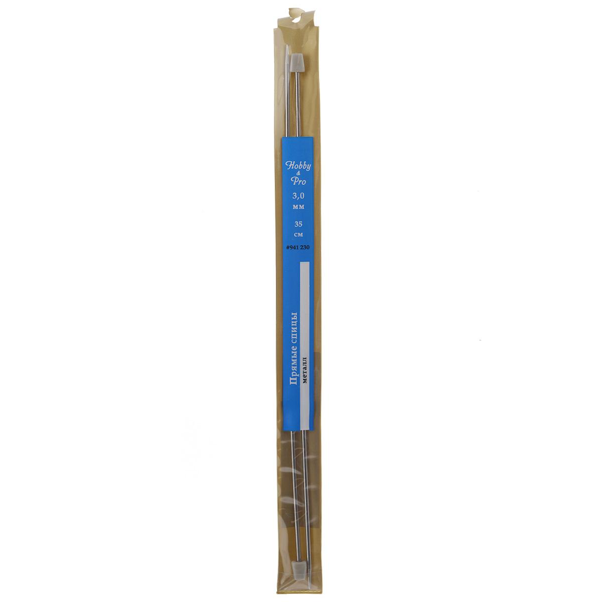 Спицы Hobby & Pro, металлические, прямые, диаметр 3 мм, длина 35 см, 2 шт677216Спицы для вязания Hobby & Pro изготовлены из металла. Спицы прочные, легкие, гладкие, удобные в использовании. Пластиковые ограничители препятствуют соскальзыванию петель. Металлические спицы предназначены для вязания шапочек, варежек, носков и других вещей. Вы сможете вязать для себя и делать подарки друзьям. Рукоделие всегда считалось изысканным, благородным делом. Работа, сделанная своими руками, долго будет радовать вас и ваших близких.