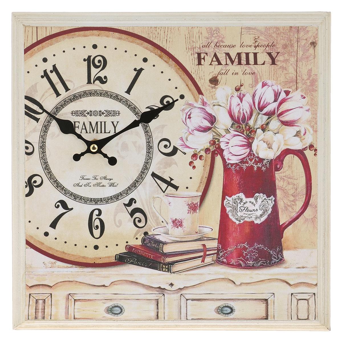 Часы настенные Family, кварцевые. 3038330383Настенные кварцевые часы Family изящно украсят интерьер дома или офиса. Корпус часов, выполненный из МДФ, оформлен красочным изображением. Часы оснащены двумя фигурными стрелками - часовой и минутной. Циферблат оформлен отметками и арабскими цифрами. Часы работают от одной батарейки типа АА мощностью 1,5V (в комплект не входит). Размер корпуса (ДхШхВ): 31,5 см х 31,5 см х 4,5 см. Внимание! Уважаемые клиенты, обращаем ваше внимание на тот факт, что циферблат часов не защищен стеклом!