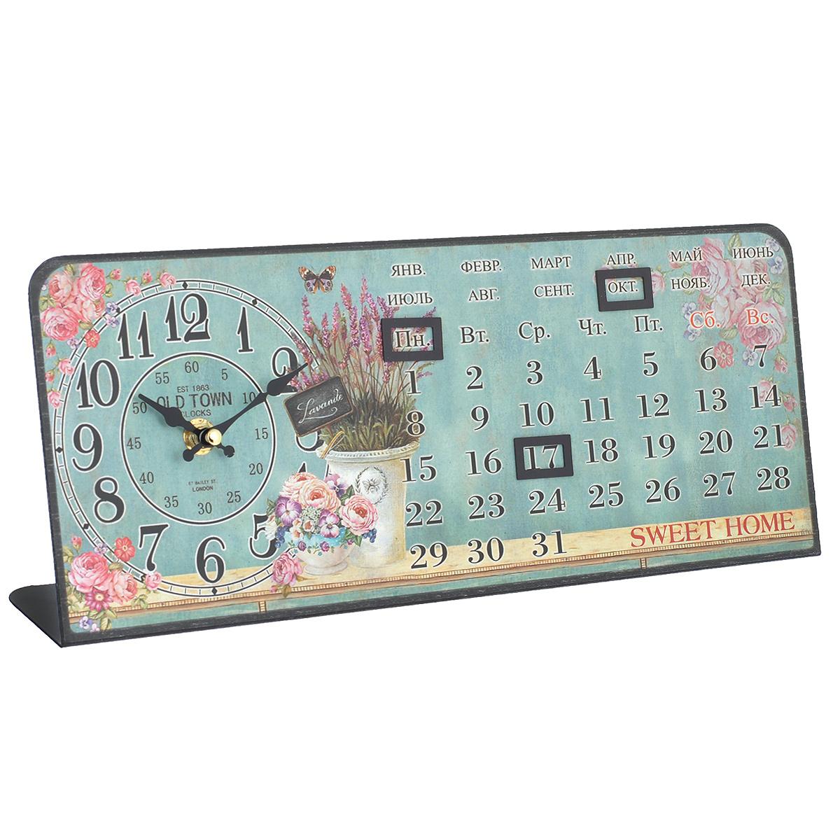 """Феникс-Презент Часы настольные """"Голубая лаванда"""", с календарем. 35832"""