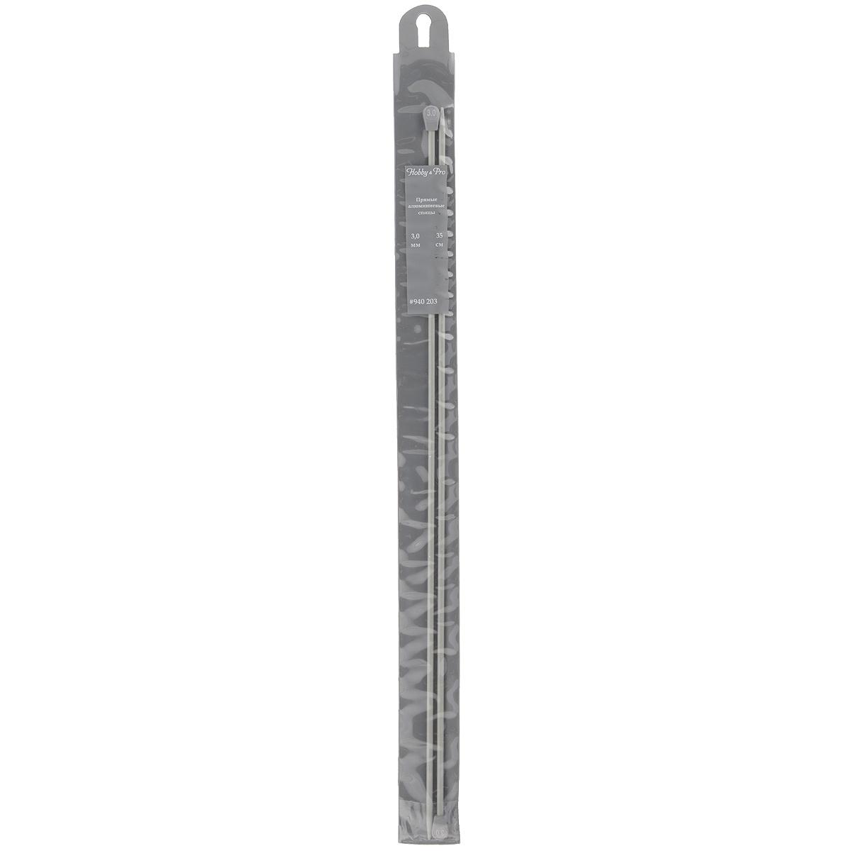 Спицы Hobby & Pro, алюминиевые, прямые, диаметр 3 мм, длина 35 см, 2 шт7700056Спицы для вязания Hobby & Pro изготовлены из алюминия с тефлоновым покрытием. Спицы прочные, легкие, гладкие, удобные в использовании. Ограничители препятствуют соскальзыванию петель. Алюминиевые спицы предназначены для вязания шапочек, варежек, носков и других вещей. Вы сможете вязать для себя и делать подарки друзьям. Рукоделие всегда считалось изысканным, благородным делом. Работа, сделанная своими руками, долго будет радовать вас и ваших близких.