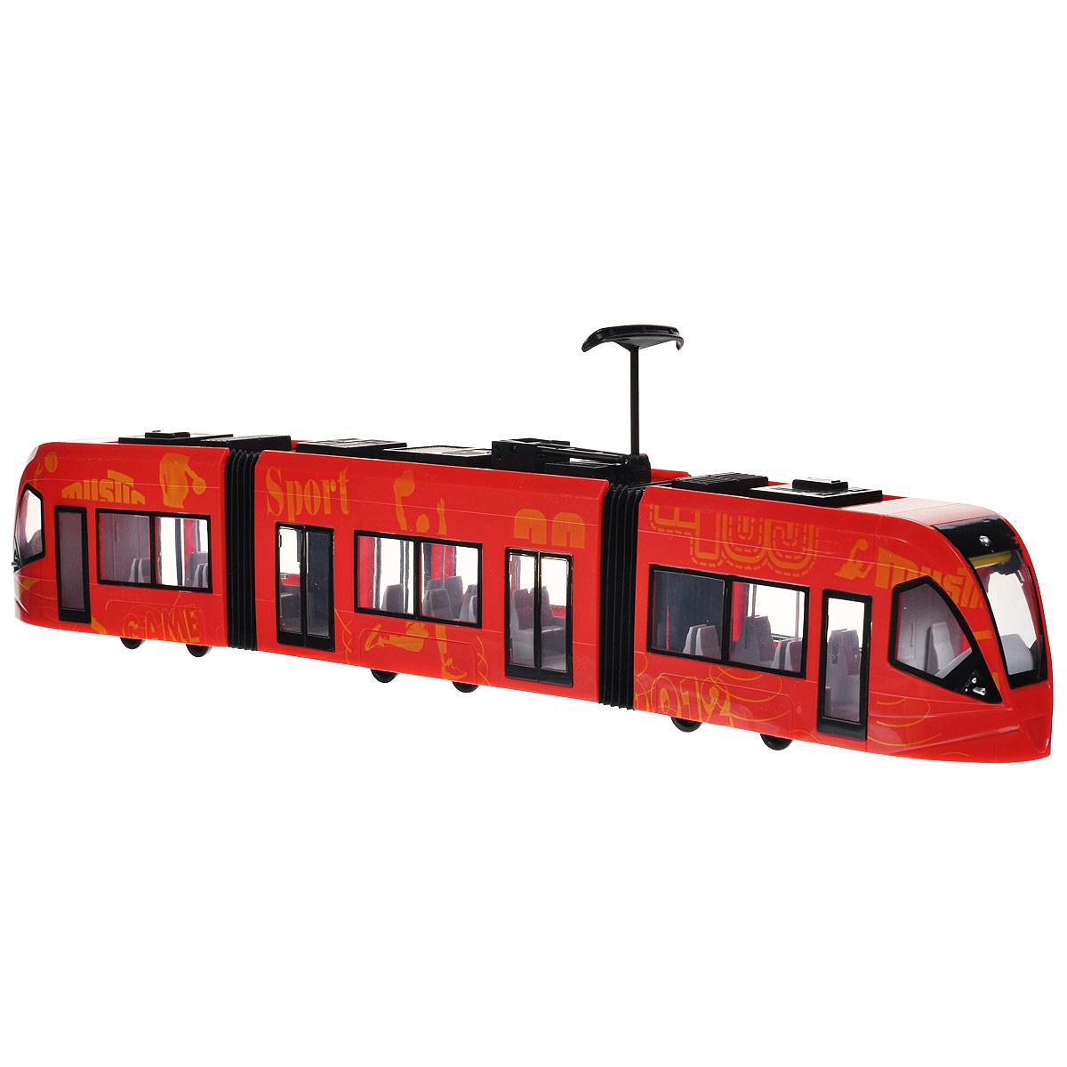 Трамвай городской Пламенный мотор, цвет: красный87448Городской трамвай Пламенный мотор красного цвета выполнен из прочного пластика и оформлен надписями на английском языке и рисунками желтого цвета. Трамвай имеет три части, соединенные гармошкой. Прокрутив специальные колесики в верхней части трамвая, можно открыть любую из четырех дверей. Трамвай оснащен колесиками со свободным ходом. Внутри салона расположены ряды пассажирских кресел. Остается только подобрать фигурки, подходящие по размеру, - и можно отправляться в увлекательное путешествие! Ваш ребенок будет в восторге от такого подарка!