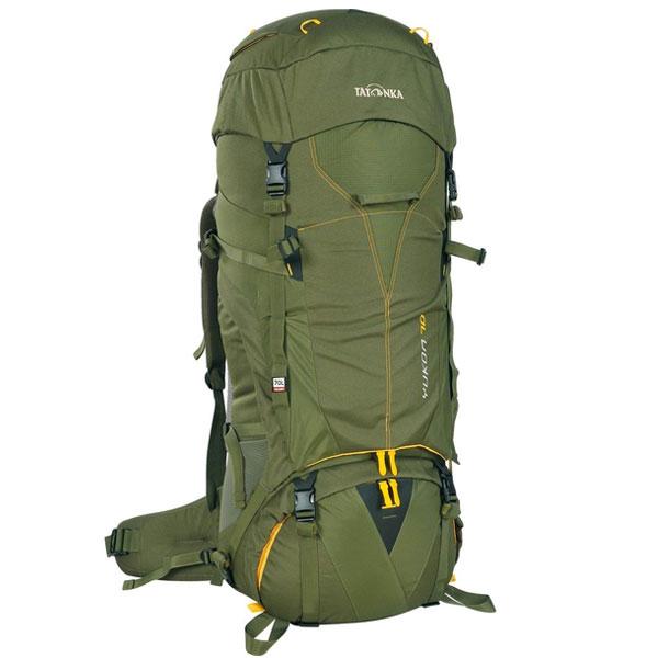 Рюкзак туристический Tatonka Yukon 80, цвет: темно-зеленый1423.036Высокотехнологичный рюкзак Tatonka Yukon 80 предназначен для продолжительных походов. Регулируемая система подвески V2 оптимально распределяет нагрузку на бедра. Спинка с мягкой подкладкой, обтянутая терморегулирующей сеточкой Airmesh, обеспечивает комфорт и вентиляцию при длительных переходах. Особенности рюкзака: Подвеска V2. Регулируемая крышка-клапан. Мягкие регулируемые лямки и набедренный пояс. Дополнительный доступ в основное отделение. Большой передний карман на молнии. Боковые карманы. Боковые стяжки. Ручки для переноски. Крепление для ледоруба. Дождевой чехол. Отделение для питьевой системы. Отделение для аптечки. Держатель для ключей.