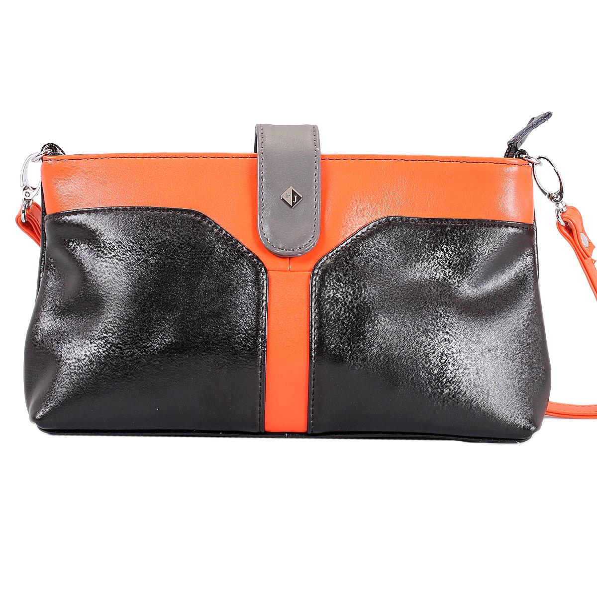 Клатч Flioraj, цвет: черный, оранжевый. 10749-1/24/610749-1/24/6 черн/оранжИзысканный и модный клатч Flioraj выполнен из высококачественной натуральной кожи контрастных цветов. Клатч застегивается на молнию и дополнительно закрепляется хлястиком на магнитную кнопку. Внутри - смежный кармашек на молнии, вшитый кармашек на молнии и два кармашка для мелочей и телефона. Тыльная сторона клатча оснащена прорезным карманом на молнии. К клатчу прилагается съемный ремешок для запястья и плечевой ремень, который регулируется по длине. Стильный клатч Flioraj - это практичный и модный аксессуар, который подойдет к любому настроению. Изысканный дизайн сочетает классические формы с современным оригинальным оформлением. Удобный и эффектный, клатч Leighton поможет вам подчеркнуть свою уникальность и станет финальным штрихом в создании вашего неповторимого образа.